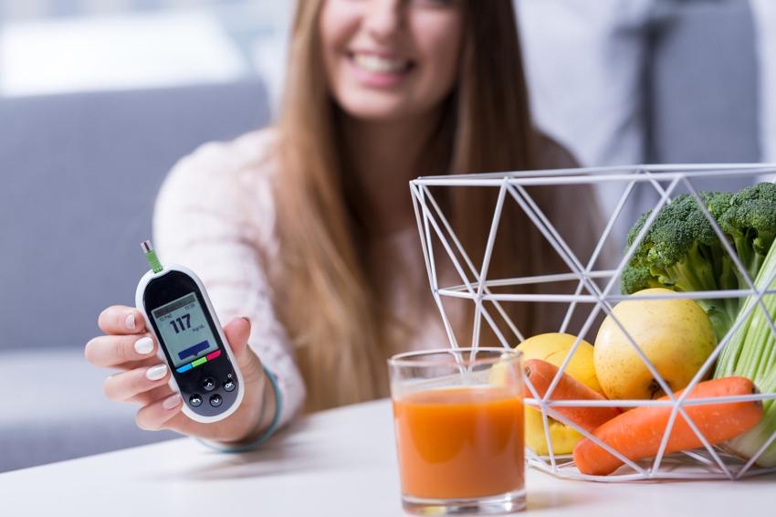 Image of happy diabetic girl leading healthy lifestyle