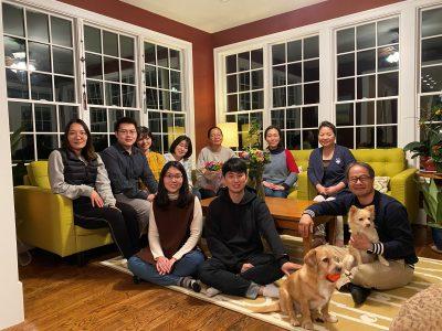 Lab members in a living room